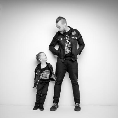 father and son black and white