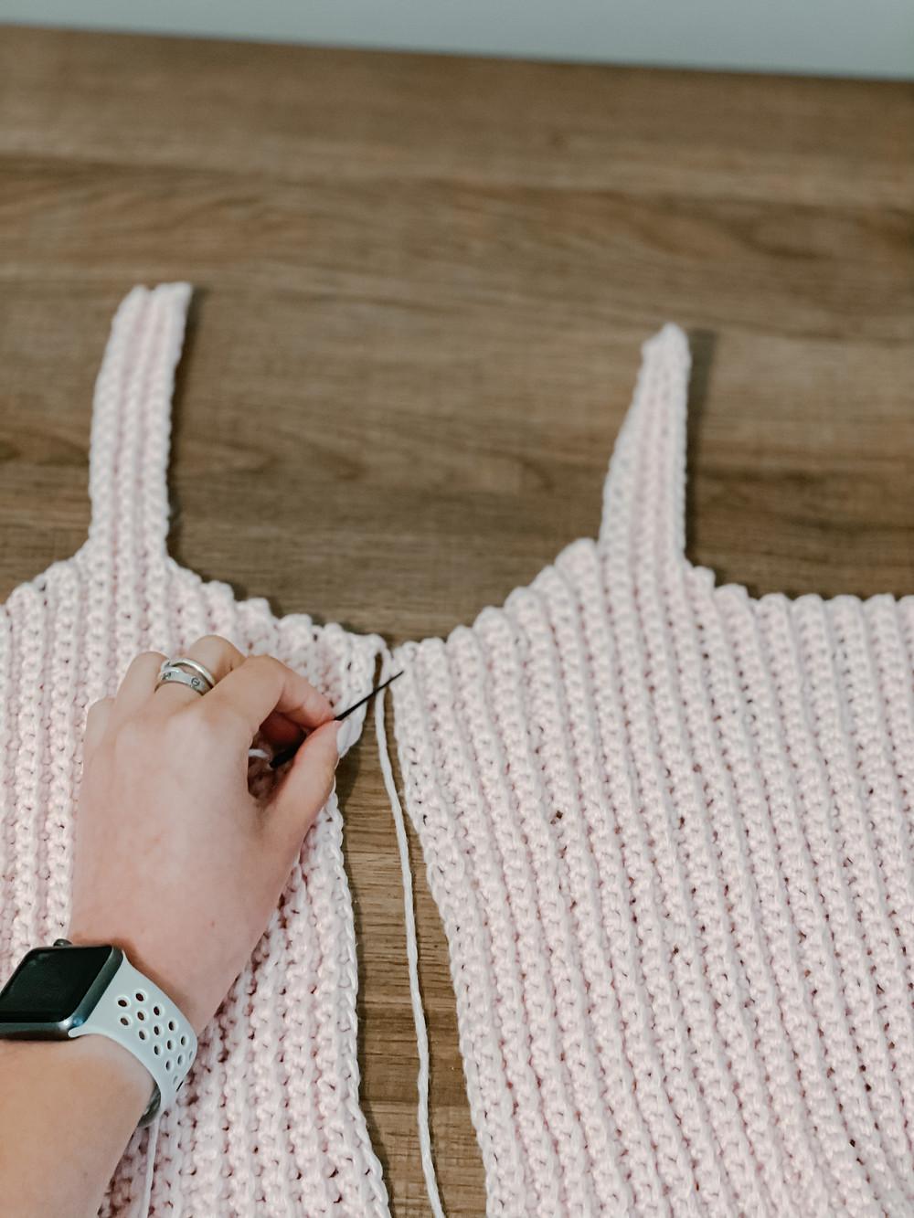 Sewing crochet crop top