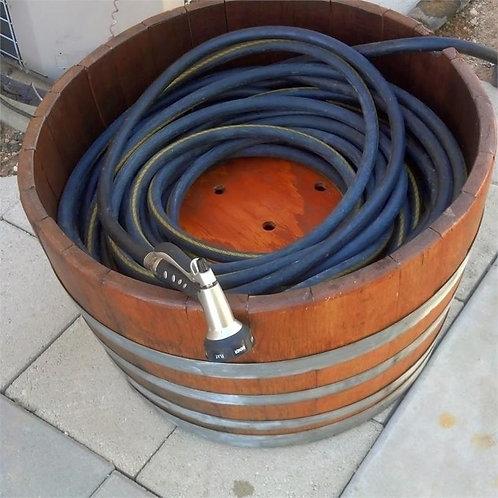 Wine Barrel Hose Container - Natural Bands