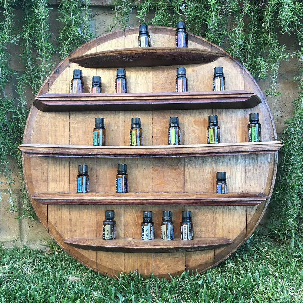 Essential Oils Rack with bottles