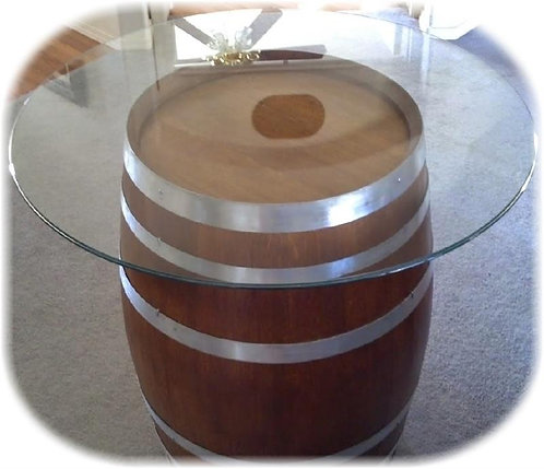 Glasstop Wine Barrel Table - Natural Bands