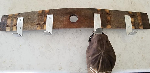 Natural Coat And Hat Rack - Made From Genuine Oak Wine Barrel Bung Hole Stave