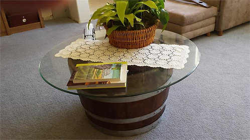 Glasstop Half Wine Barrel Table