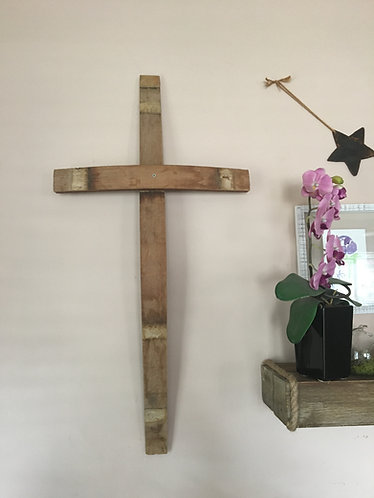 Cross made from Oak Wine Staves