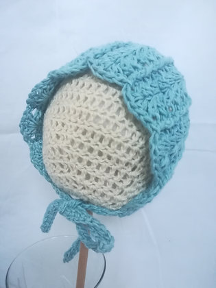 TURQUOISE BABY BONNET 0-6 MONTHS