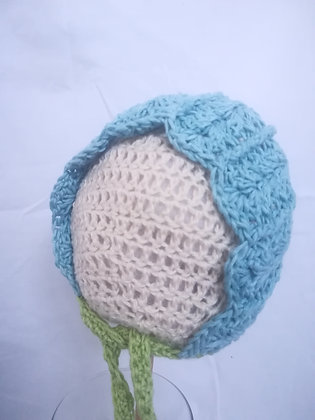 TURQUOISE WITH GREEN TIE BABY BONNET 0-6 MONTHS