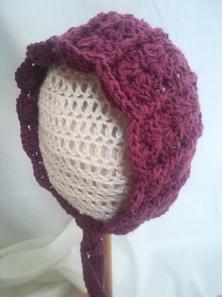 MAROON BABY BONNET 0-6 MONTHS