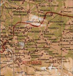 Рис. 6 Деревня Рыжево на карте Московской области 1939 года