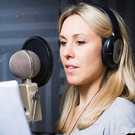 Female voice artist using Sontronics Orpheus microphone