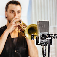 Trumpet player using Sontronics Delta microphone