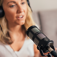 Female podcaster using Sontronics Podcast Pro microphone
