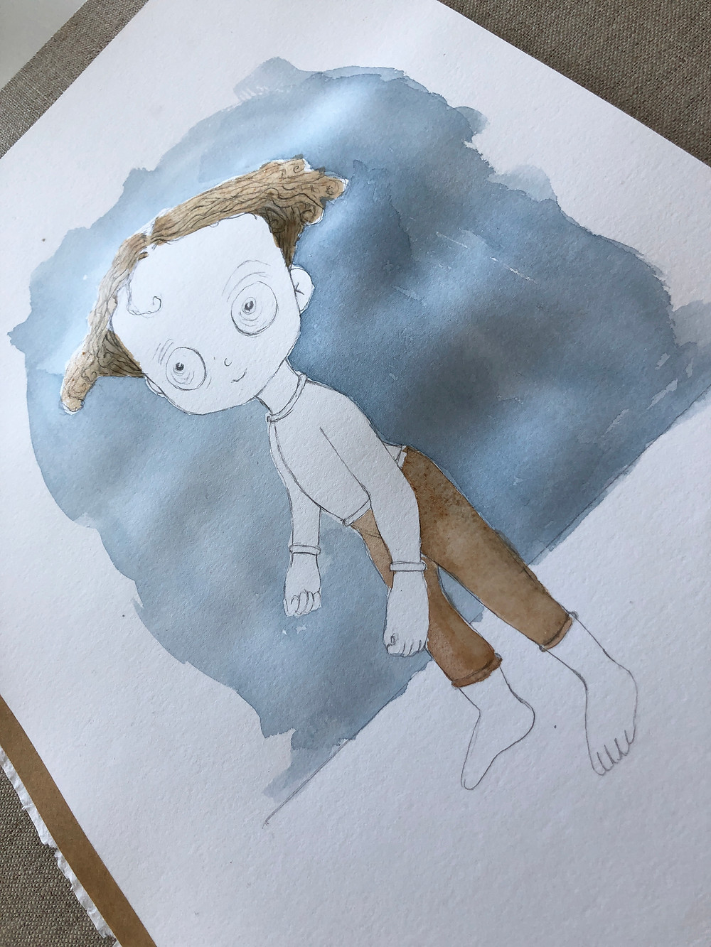 Little zombie boy watercolour blocking by Victoria Hall