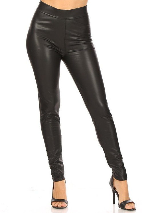 Solid Faux Leather Leggings With High Waist