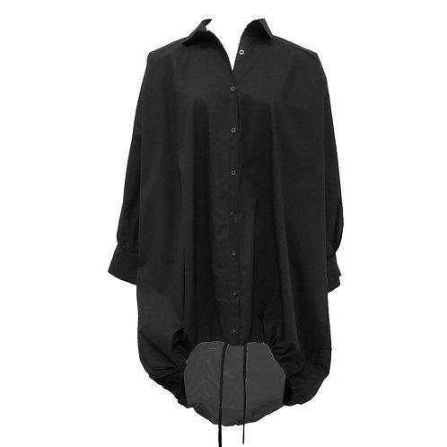 Over Size Shirt Dress-Black