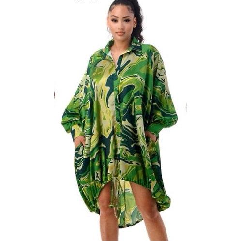 Over Size Shirt Dress - Green