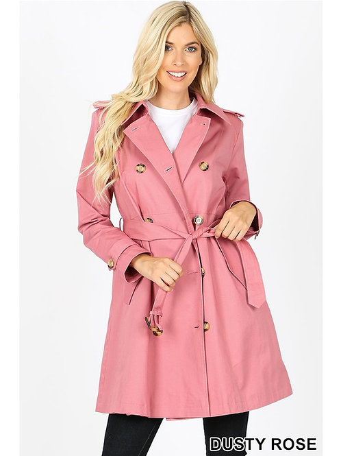 Women Thigh Length Trench Coat