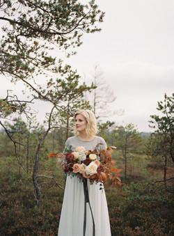 Bride in Finland Autumn wedding