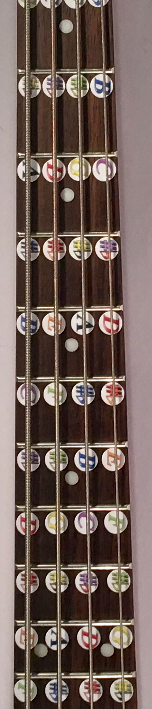 Instructional Fretboard Stickers For Bass Guitar Times New Roman