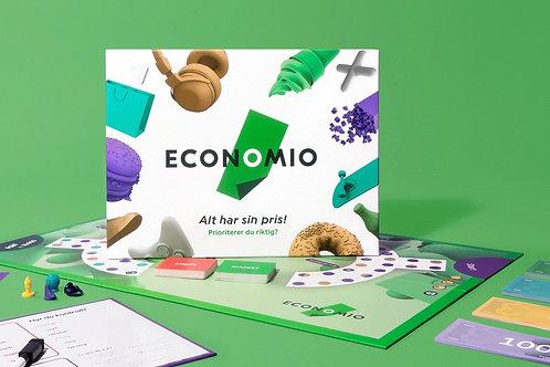 Brettspillet Economio, som lærer hele familien privatøkonomi.