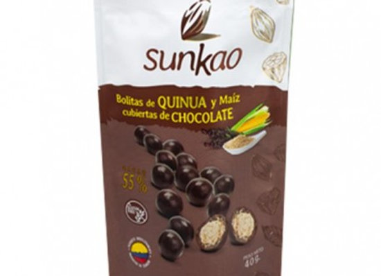 Bolitas quinua y maíz cubiertas de chocolate dark SUNKAO 40g