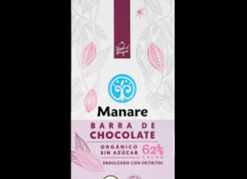 Barra de chocolate Orgánica Sin azúcar 62% Cacao, Manare