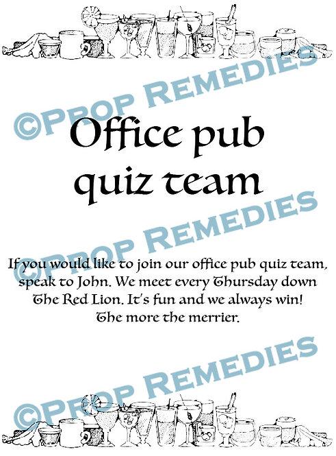 Pub quiz office Poster