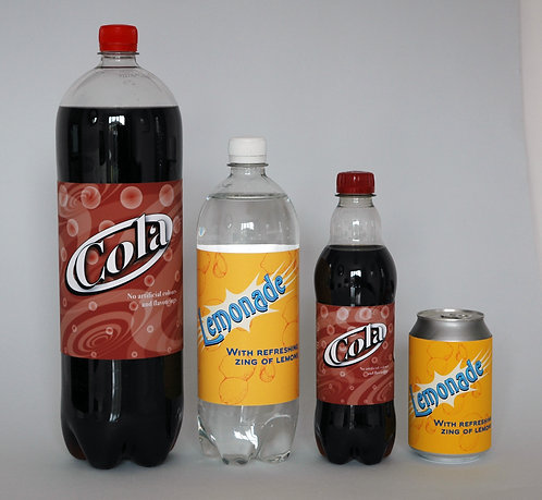 Lemonade and Cola labels