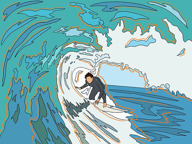 Artwork of surfer getting barrelled, print, personalised print, line drawing, surfing, surfer, Eva B Prints