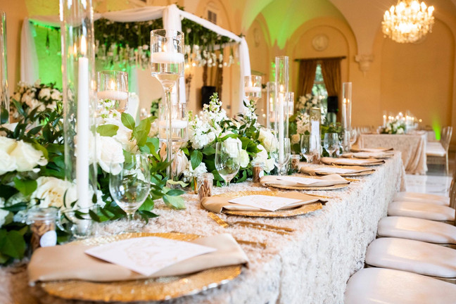 Low Lush white and green floral arrangements