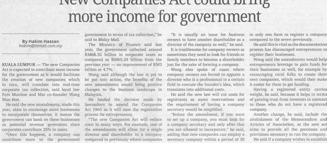 New Companies Act could bring more income for government (Malay Mail, 14.10.2016) (updated 31 Januar