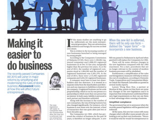 Making it easier to do business (Focus Malaysia, Focus Week, June 11-17, 2016) (Mun Hoe on the new C