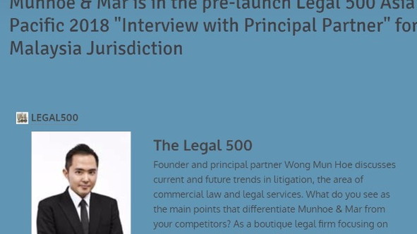 """Munhoe & Mar is featured in the pre-launch Legal 500 Asia Pacific 2018 inaugural column - """""""