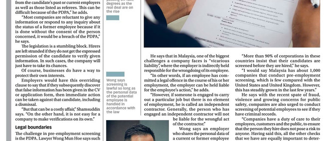 Screen, vet, check: The new hire power (Extract of Focus Malaysia, Focusweek, August 13-19, 2016) (M