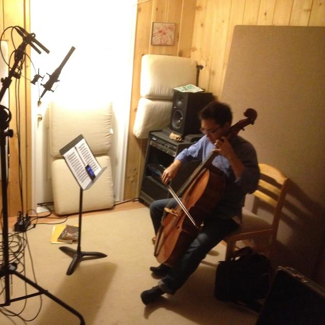 Bach solo recording in the studio.