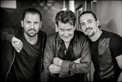 "American actor Charlie Sheen with Dimitri Vegas & Like Mike during the recording off ""The Hum""        Upland, California - USA"