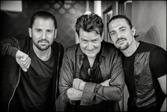 """American actor Charlie Sheen with Dimitri Vegas & Like Mike during the recording off """"The Hum""""        Upland, California - USA"""