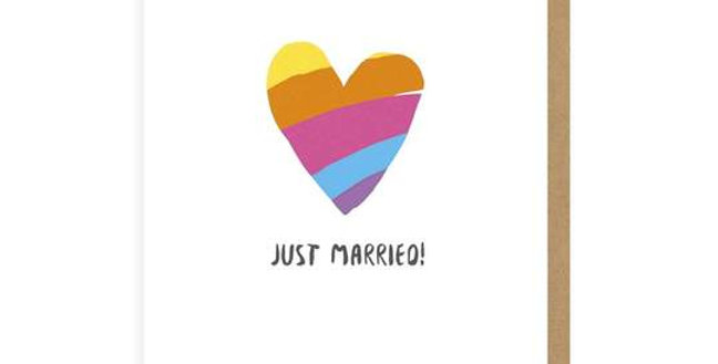 Just Married Rainbow Heart Greeting Card