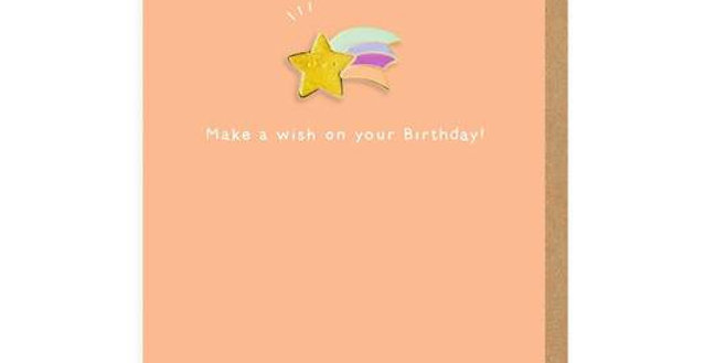 Make A Birthday Wish Enamel Pin Greeting Card