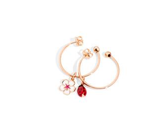 Hoop earrings, cherry flower and ladybug