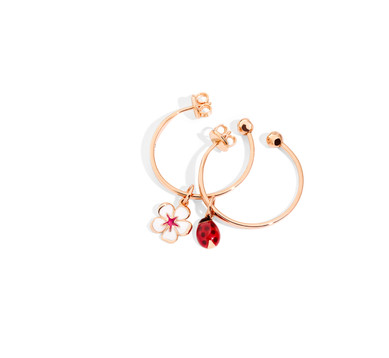 Hoop earrings, cherry flower and ladybug
