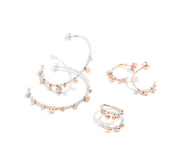 Bollicine earrings and rings in silver a