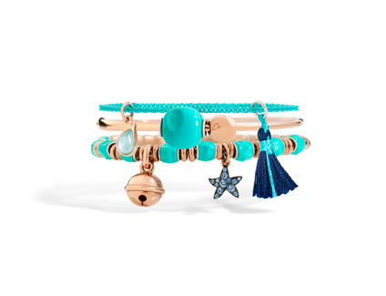 Dodo bracelets with components and charms - drop, bell and starfish
