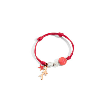 Dodo red cord bracelet with components and charms starfish and CORAL
