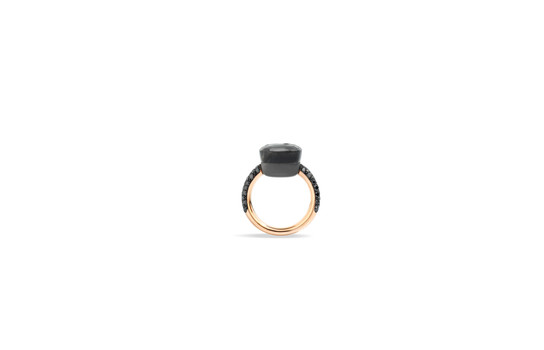 NUDO ring with gray moonstone and black diamonds by Pomellato