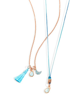 Dodo necklaces with charms MOON and DROP