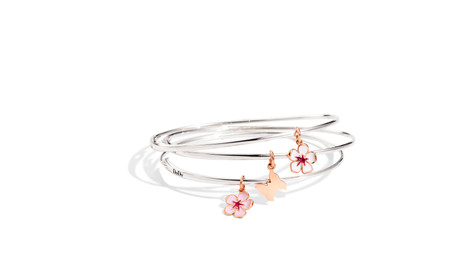 Bangle in silver with Flower charms.jpg