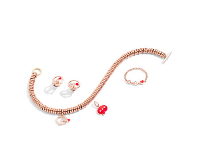 Rondelle pink gold bracelet with charm M