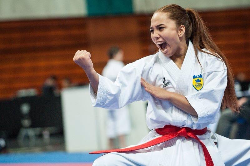 taekwondo karate girl shouting
