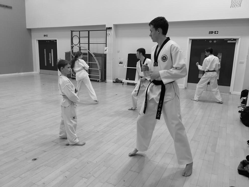 black belt teaching a white belt