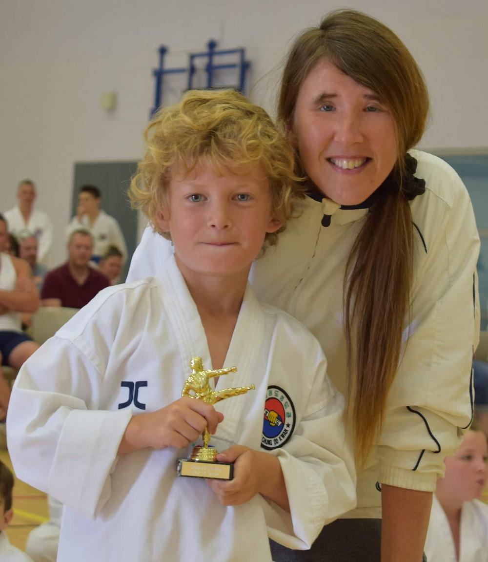 taekwondo white belt and instructor